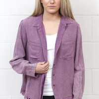 Split Back + Frayed Hem Button Down {Purple}