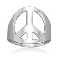 Polished Silver Peace Sign Ring