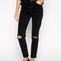 ASOS Farleigh High Waist Slim Mom Jeans in Washed Black with Busted Knees