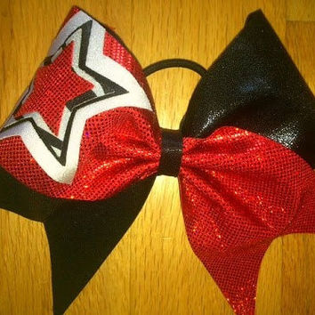 Red and black star cheer bow by TonTonsBowtique on Etsy