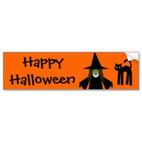 Happy Halloween Witch and Cat Bumpersticker
