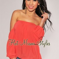 Coral Off-The-Shoulder Long Sleeves Top