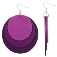 Purple Thin Round Wooden Layered Disk Earrings