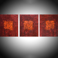 "ARTFINDER: "" Tones of Home "" extra large huge triptych 3 panel wall art red orange brown effect painting big abstract impasto elegant abstraction 48 x 20"" by Stuart Wright - "" Tones of Home "" A set of 3 elegant large eleg..."