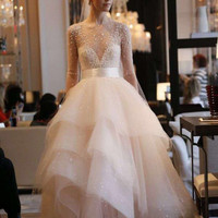 Real Samples Ball Gown Puffy Applique Wedding Dress 2016 Long Sleeves Layers Pearls Crystal Wedding Gowns Robe De Mariage RW24