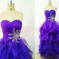Long grape tulle prom dresses with crystals in 2014,cute sweetheart bridesmaid gowns hot,chic floor length dress for holiday party.