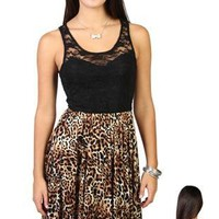 pleated high low dress with illusion lace and animal cheetah print - debshops.com
