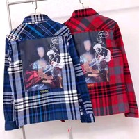 OFF-WHITE new back oil painting men and women loose long-sleeved plaid shirt