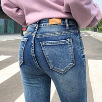 NEW Women Stretch High Waist Classic Retro  Jeans Lady Plus Size 38 40 Skinny Pants Push Up Leggings Mom Jeans Pencil Trousers
