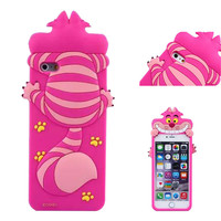 For iPhone6 6 Plus 5 5S Cute Alice in Wonderland 3D Cheshire Cat Silicone Case Fundas Capa Para Mobile Phone Protective Bags