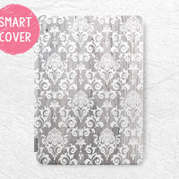 White Damask grey wood print Smart Cover for iPad Mini, iPad mini 2 retina, iPad Air, iPad Air 2, vintage Smart cover with back case -G6