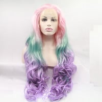 pink green purple 3T ombre body wave wigs