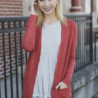 Falling Leaves Cardigan - Rust