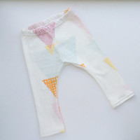 Baby Leggings - Fun Colorful Triangles in Organic Cotton Knit