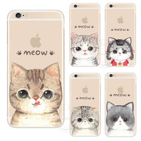 New Fashion Super Cute Cat Hard Plastic Case Cover For Apple iPhone 4 4S 5 5S 5C 6 6S 6 Plus 6SPlus