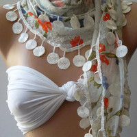 ON SALE Elegance Scarf /with Lace Edge.