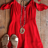 Over Here Over There Romper, Red