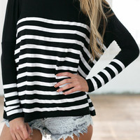 Black and White Long Sleeve Panel Striped Top