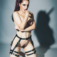 Double Leather Suspender Belt