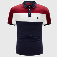 Fashion Casual Men Embroidered Detail Colorblock Polo Shirt