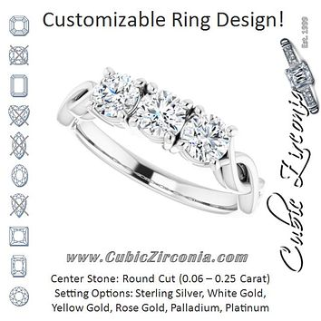Cubic Zirconia Engagement Ring- The Maria José (Customizable Triple Round Cut Design with Twisting Infinity Split Band)