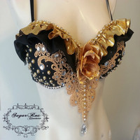 Black and Gold Rave Bra, Custom Event Outfit Ruffles Rhinestones Crystal Chain and Appliqué