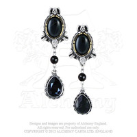 Alchemy Gothic She Walks In Beauty Black Noir Crystals Earrings