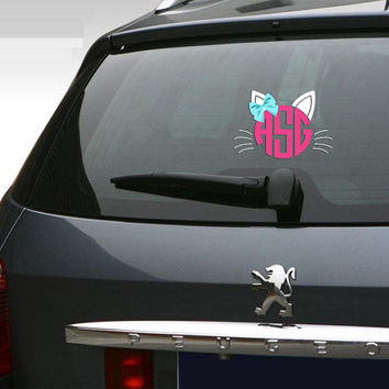 "Cat Lovers Car Decal 5"" inch Personalized Kitten Kitty Hair bow Girls Monogram Vehicle sticker decal"