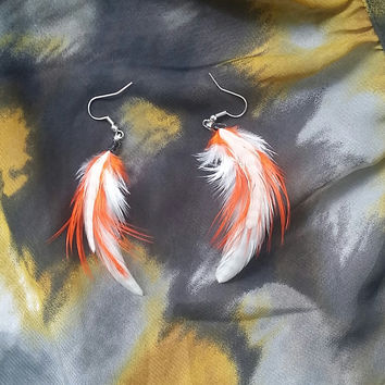 Orange and White Feather Earrings - White feather earrings - Feather Earrings - Orange Feather Earring's