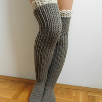 Knee high socks with lace tops,CROCHET PATTERN Over the knee socks,  PDF , Instant download