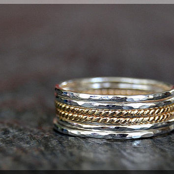 Set of 6 Ultra Thin 14k Gold Filled and Sterling Silver Stacking Rings, Twisted 14k gold filled ring, Hammered Sterling Silver rings