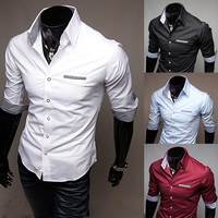 New Slim Fit Men's Fashion Half Sleeve Dress Shirt