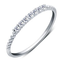 (Very Thin) 1PC 925 Sterling Silver 2MM Rope 1Row Half Eternity Wedding Band Ring jewelry Size 3-9.75 AAA+ Zirconia  J431
