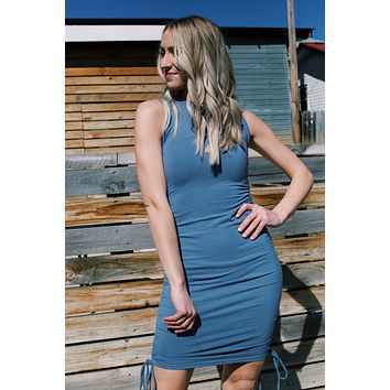 Klayre Knit Cinched Side Bodycon Dress, Blue