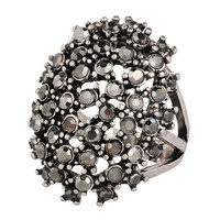 Vintage Retro Antique Silver Plated Black Rhinestone CZ Filled Rings Personality Party Rings Jewelry Size 7-10