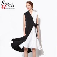 2016 Summer Women Sexy Dress V-Neck Sleeveless Waist With Bow Sashes Pleated Black Patchwork Beach Evening Party Club Dress 1484