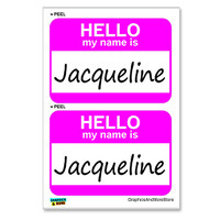 Jacqueline Hello My Name Is - Sheet of 2 Stickers
