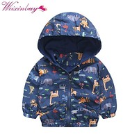 2-6Years Kids Baby Spring Autumn Jacket Hooded Coat Boy Girl Toddler Cartoon Print Outerwear Windbreaker Child Fashion Clothes