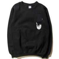 Street RIPNDIP wave brand men and women couple bf Harajuku wind pocket vertical middle finger cat micro-Bo cheap sweater