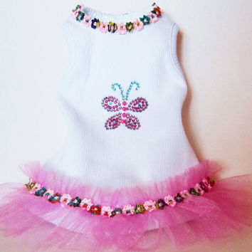 Dress TuTu Pet clothes Dog outfit Pretty Wedding pet costume Beaded Design Butterfly