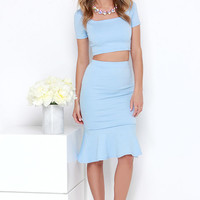 Chic Magnet Light Blue Two-Piece Dress