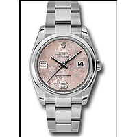 Rolex Oyster Perpetual Datejust 36mm Stainless Steel Case, Domed Bezel, Pink Floral Dial, Arabic Numeral And Oyster Bracelet.