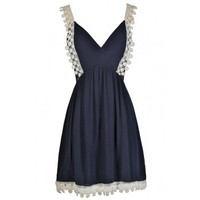 Lily Boutique Cute Navy Dress, Navy and Cream Dress, Navy and Ivory Dress, Navy and Ivory Summer Dress, Navy and Cream Crochet Lace Dress, Cute Summer Dress, Cute Navy Dress, Navy Summer Dress Lily Boutique