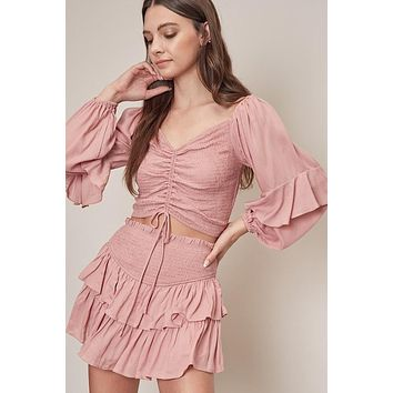 Smocked Top, Dusty Rose