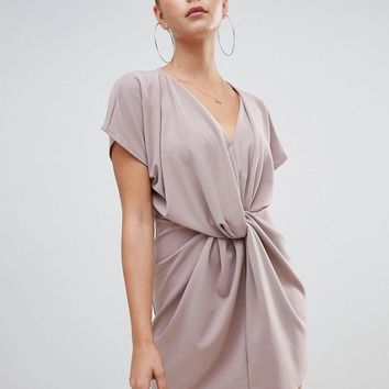 Missguided knot front dress in nude at asos.com