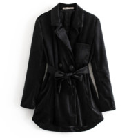 Autumn and winter new ins fashion black velvet suit jacket long section lace suit suit female