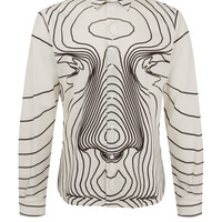 Christopher Kane White Digital Face Print Cotton Shirt | Men's Shirts by Christopher Kane | Liberty.co.uk