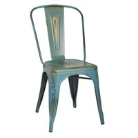 Set of 2 Distressed Green Stacking Dining Chairs