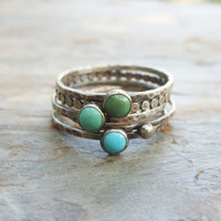 Tricolor Turquoise Stacking Rings in Antiqued Sterling Silver