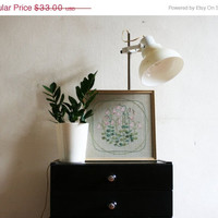 SALE 20% OFF/ Sweden vintage hand embridered floral wall hanging in wooden frame